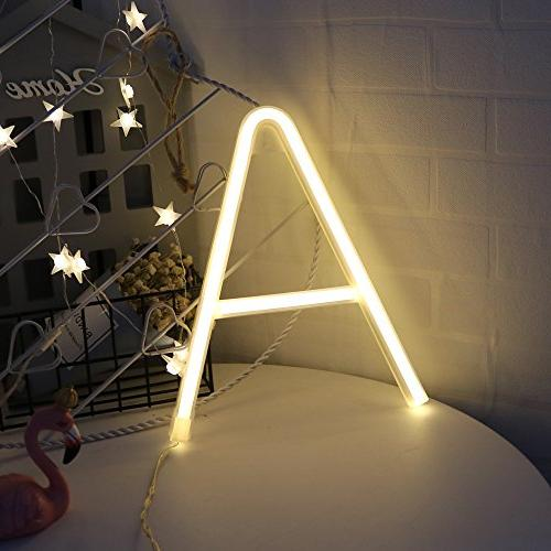 Obrecis Light LED Neon Letter Decorative Neon White Lights for Birthday Wedding Party Decor