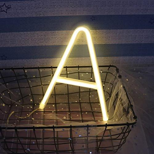 Obrecis Neon Decorative Neon White Letter Lights Wedding Party Decor