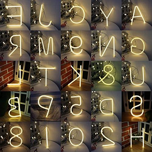 Obrecis Neon Letter Wall Decorative White Alphabet Lights for