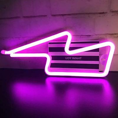 Lightning Bolt Neon Pink Shape Neon Sign Art Lights