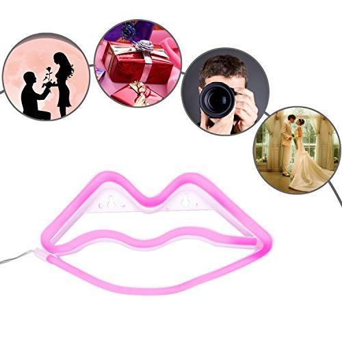 Lip Shaped Neon Led Light Art Decorative for Children Christmas Party Decoration