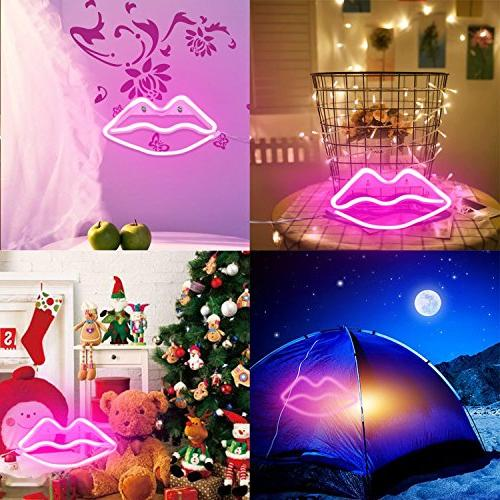 Lip Led Neon Art Decorative Lights Wall Decor for Baby Christmas