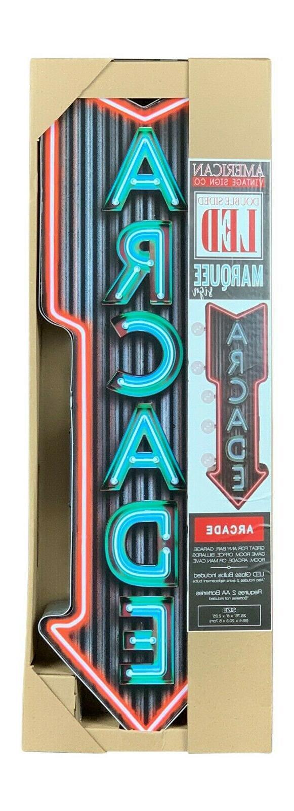 """Neon Arcade Sign, 25"""" Sided Arrow"""