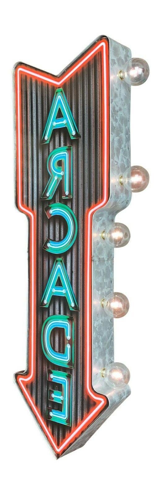 "Neon Arcade LED Sign, 25"" Double Sided Arrow Shaped, Man Cav"