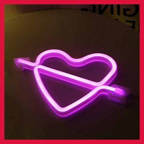 Neon Art Decorative Lights LED Cupid Heart Signs Light Wall De