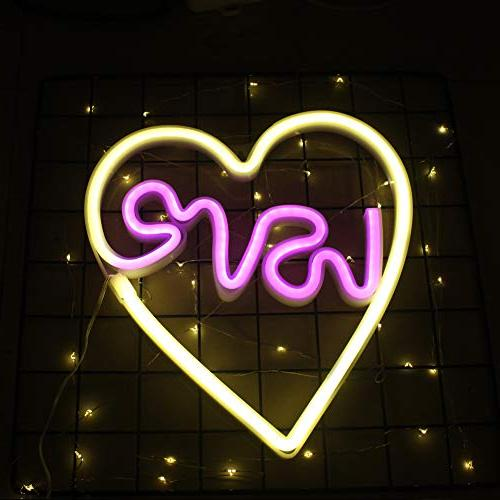 Neon Light Love in Heart Sign Light Cute Signs Light Table Decor Christmas, Wedding