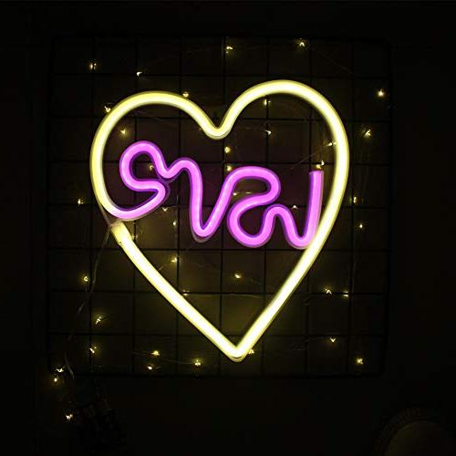 Neon Heart Night Cute Light Light Table Wall for Christmas,