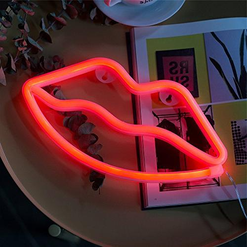 Neon Lip Sign Red, Battery Powered Neon Light,