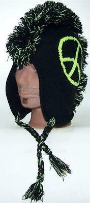 Neon Peace Sign Knit Mohawk Winter Ear Flap Ski Hat Beanie H