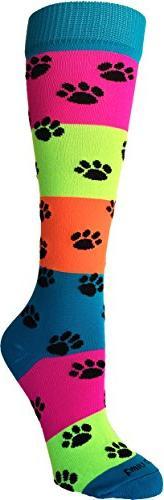 Neon Rainbow Fun Print OTC Socks