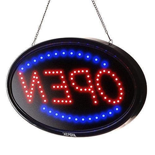 LED Sign Open, AGPtek 19x10inch Display Two Modes Flashing & Light, for Business, Shop, bar, Hotel