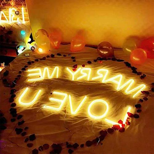 Obrecis Neon Letter Decorative Neon Warm White Alphabet Marquee Lights Party Decor