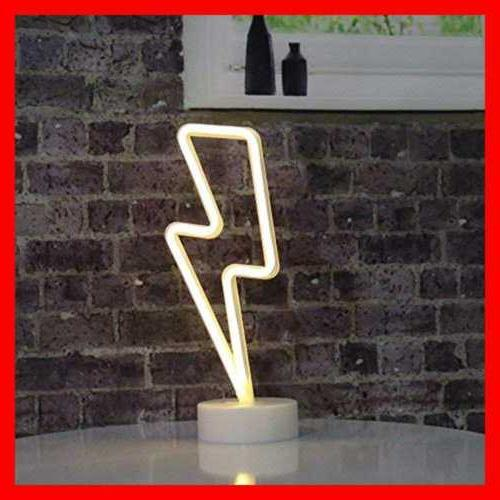 Neon Bolt Battery Operated Powered Warm WHITE Art LED Deco