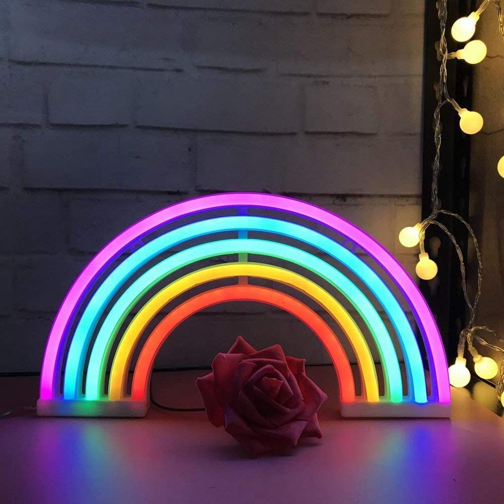 Cute <font><b>Sign</b></font>,LED Rainbow Light/Lamp Decor,Rainbow <font><b>Neon</b></font> Lamps,Wall Decor <font><b>for</b></font> <font><b>Bedroom</b></font>,Chistmas,Birt