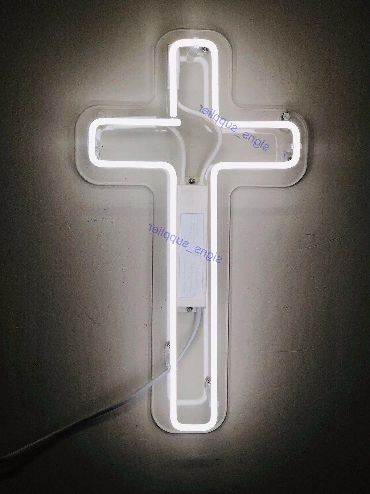 new jesus cross white neon sign acrylic