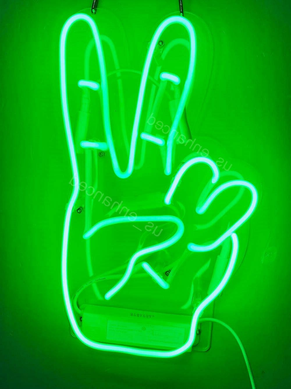 new yeah gesture hand green neon sign