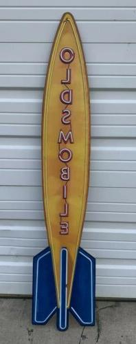 Oldsmobile Sign Vintage Style Neon Look Rocket 8 Gas Oil Gar