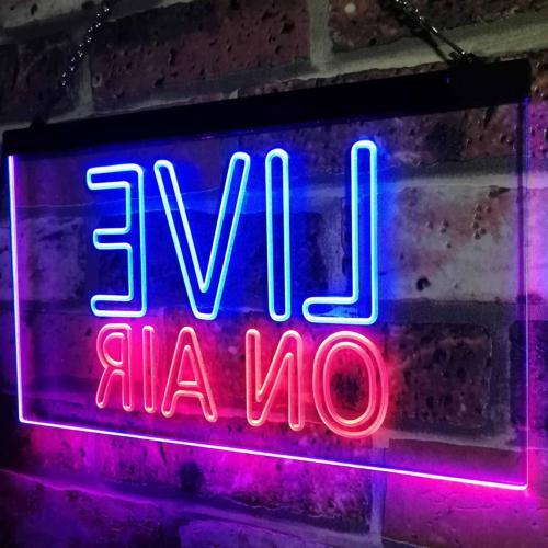 ADVPRO On Air Recording Studio Video Dual Neon Sign Blue