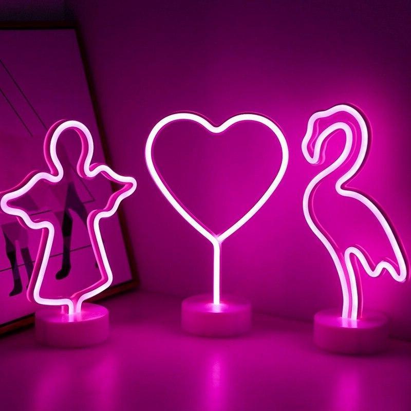 Cute Moon Star Flamingo Shape <font><b>Battery</b></font> USB <font><b>Operated</b></font> <font><b>Neon</b></font> Holiday