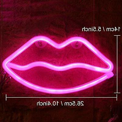 Pink Sign Led Lips Battery USB Ope