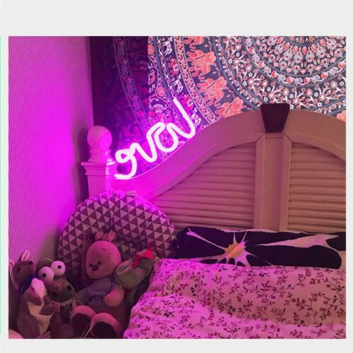 Pink LED Neon Signs USB/Battery Wall for Bedroom