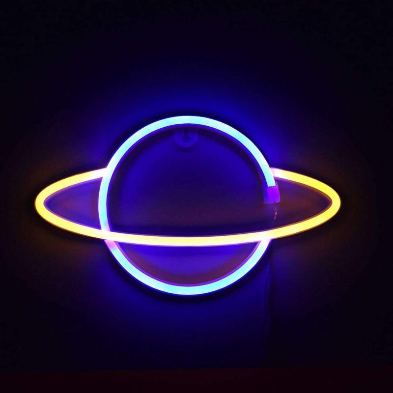 Planet Neon Sign Planet Neon Night Light LED Wall Art Light