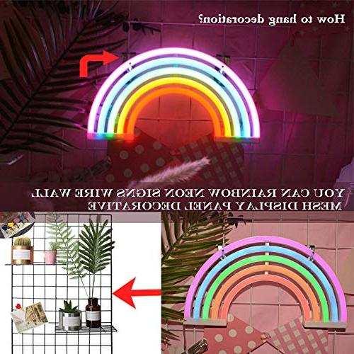 AIZESI Rainbow Neon Sign,Rainbow LED Rainbow USB Operated Night Lights for Girls Bedroom,Living