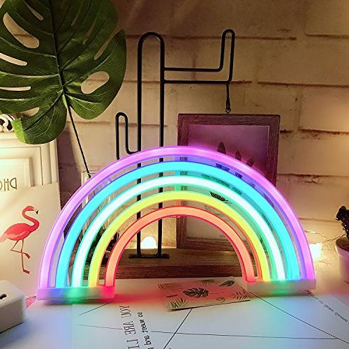 AIZESI Rainbow Sign,Rainbow LED Lamp Decor USB Night Lights for Girls Bedroom,Living Room,Christmas,Party,Wall