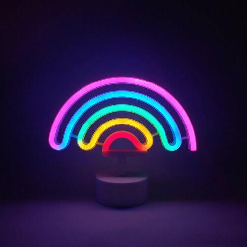 Rainbow Neon Light with Base Battery Room Decor