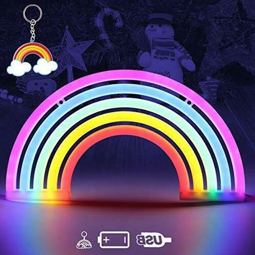Rainbow Neon Light Signs,Rainbow Wall Decor for Girls Childr