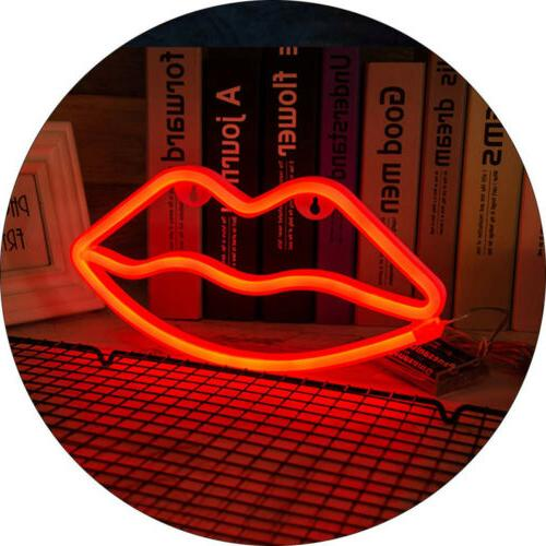 red lip neon sign usb battery powered