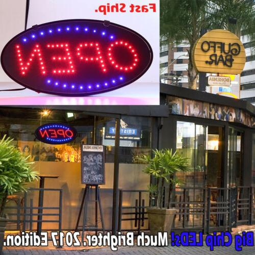 """19X10"""" Bright Animated Oval Open Mart Shop LED Store Sign Di"""