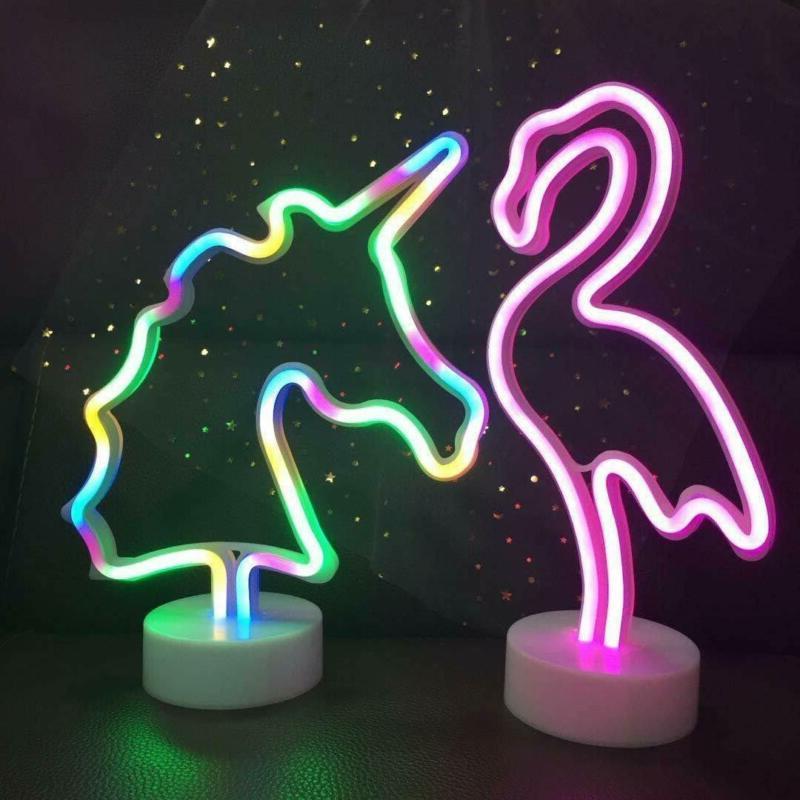 Xiyunte Unicorn Neon Lights Room Decor, Battery P