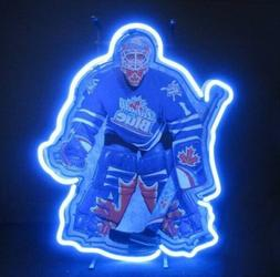 "Labatt Blue Hockey Goalie Neon Sign Bar Decor Gift 14""x10"" L"