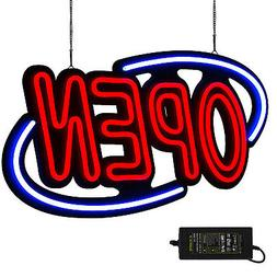 Neon OPEN Sign Light Large Bright Horizontal Business Shop S
