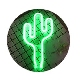 LED Cactus Neon Light Signs Wall Lamps Battery USB Operated