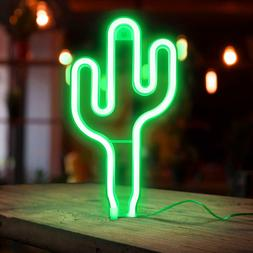 🏆 LED Cactus Neon Sign Wall Decor Battery Operated Night