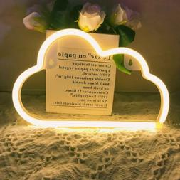 LED Cloud Neon Signs Warm White Neon Light Sign USB/Battery
