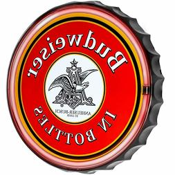 "Budweiser LED Neon Light Rope Bar Sign, 12"" Round Bottle Cap"