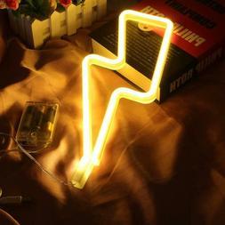 Neon Lightning Led Light Lights Decor Sign Signs Wall Batter