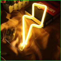LED Neon lightning Sign USB Battery Operated Night Light Dec