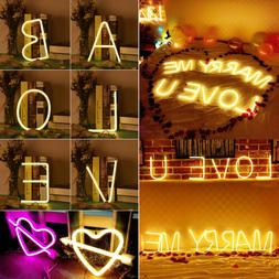 LED Neon Sign 26 Letters Table Wall Lights Lamp Artwork Home
