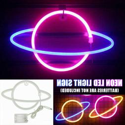 led neon sign planet shaped neon light