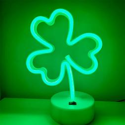 LED Neon Signs Lights Green Clover Shaped Neon Night Light U