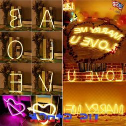LED Night Light Neon Sign 26 Letters Shop Wedding Christmas