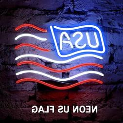 LED US Flag Neon Sign Wall Light for Home Decor Restaurant B