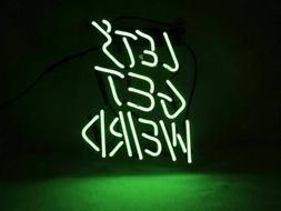 """Let's Get Weird Green 14""""x10"""" Neon Sign Acrylic Light Bar Gl"""