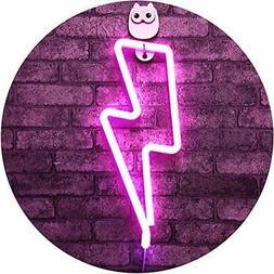 Lightning Bolt Neon Signs Pink Lightning Shape Neon Sign Art