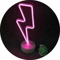 Pooqla Lightning Neon Signs, LED Neon Light Sign with Holder