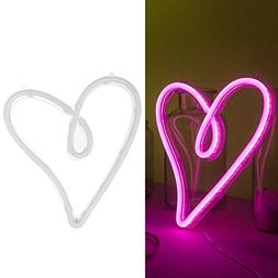 Ling's moment USB & Battery Powered Pink Heart Neon Lights H